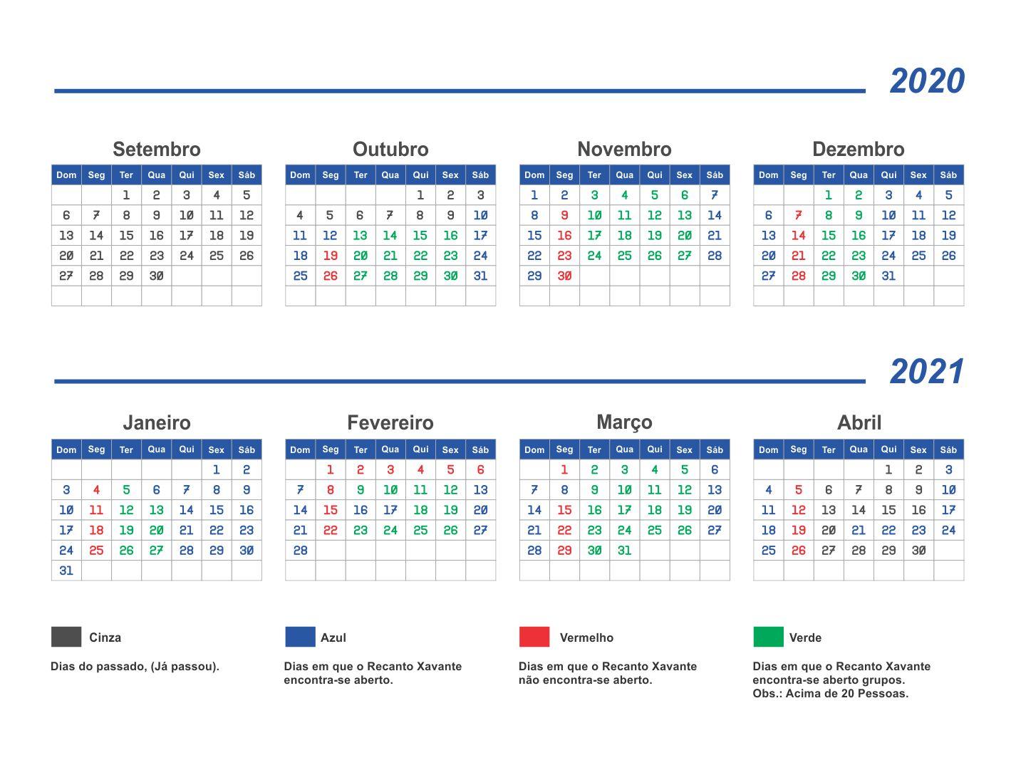 calendario – recanto xavante